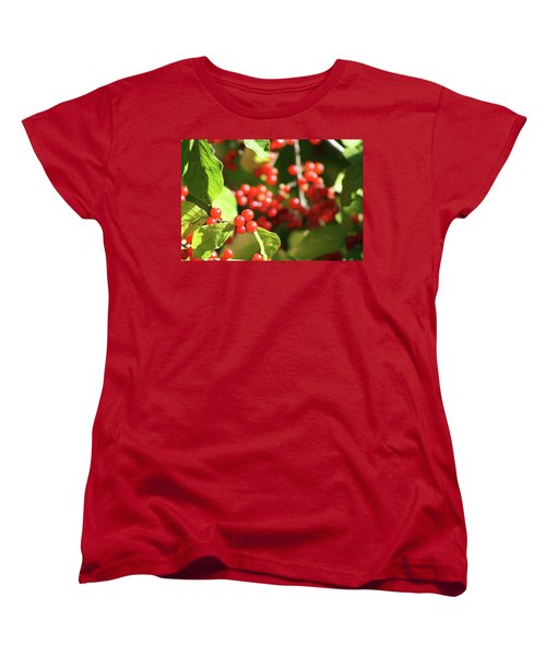 Close Up Of Red Berries Women's T-Shirt (Standard Cut) by Michele Wilson
