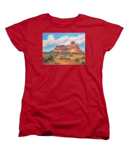 Women's T-Shirt (Standard Cut) featuring the painting Clouds Passing Monument Valley by Diane McClary