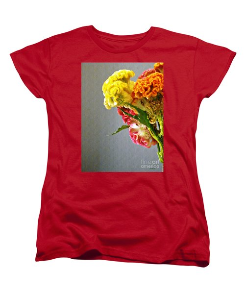 Women's T-Shirt (Standard Cut) featuring the photograph Cockscomb Bouquet 4 by Sarah Loft