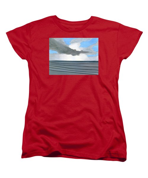 Women's T-Shirt (Standard Cut) featuring the painting Cocoa Beach Sunrise 2016 by Dick Sauer