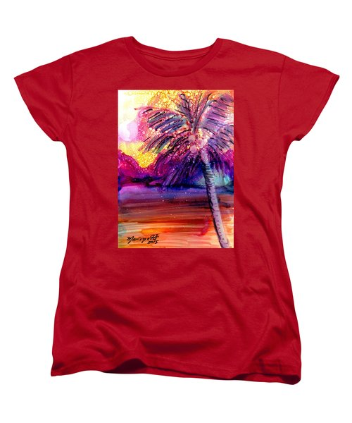 Women's T-Shirt (Standard Cut) featuring the painting Coconut Palm Tree 2 by Marionette Taboniar