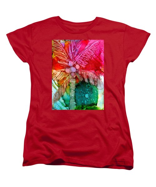 Women's T-Shirt (Standard Cut) featuring the painting Coconut Palm Tree by Marionette Taboniar