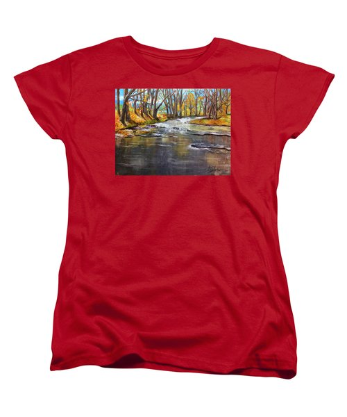 Cold Day At The Creek Women's T-Shirt (Standard Cut) by Annamarie Sidella-Felts