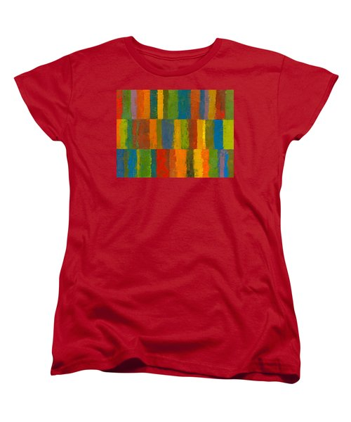 Color Collage With Stripes Women's T-Shirt (Standard Cut) by Michelle Calkins