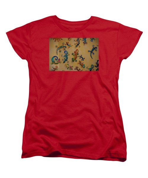 Women's T-Shirt (Standard Cut) featuring the photograph Color Lizards On The Wall by Rob Hans