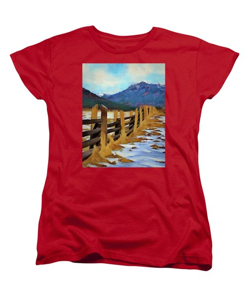 Women's T-Shirt (Standard Cut) featuring the painting Colorado Fence Line  by Jeff Kolker
