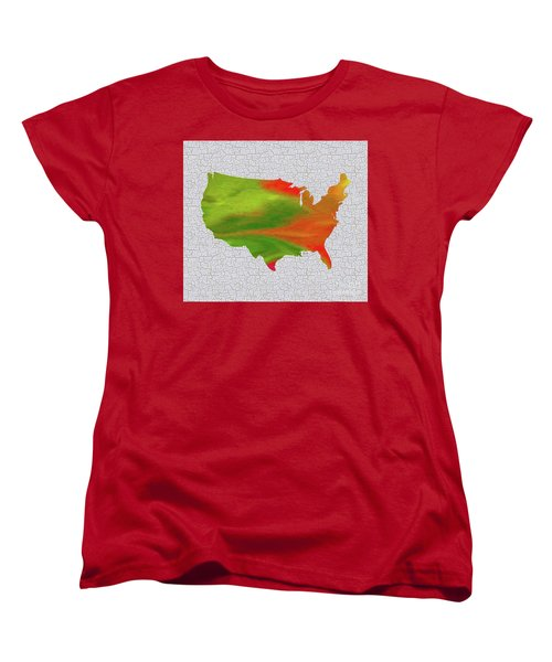 Colorful Art Usa Map Women's T-Shirt (Standard Cut) by Saribelle Rodriguez