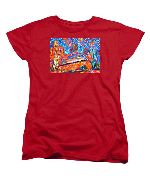Women's T-Shirt (Standard Cut) featuring the painting Colorful Chicago Bean by Dan Sproul