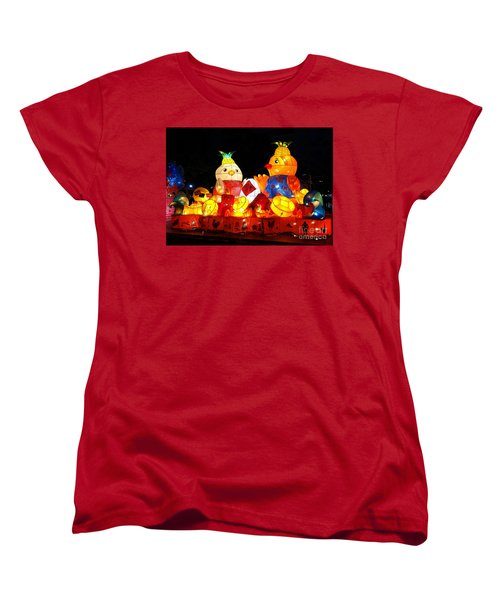 Women's T-Shirt (Standard Cut) featuring the photograph Colorful Chinese Lanterns In The Shape Of Chickens by Yali Shi