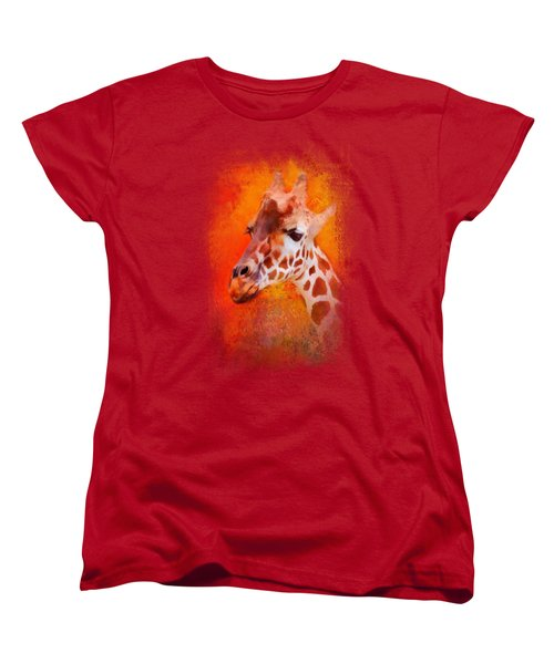 Colorful Expressions Giraffe Women's T-Shirt (Standard Cut) by Jai Johnson