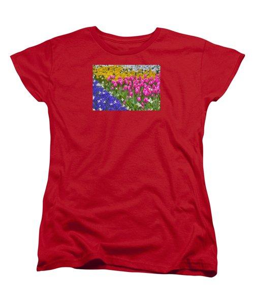 Colorful Flowers Women's T-Shirt (Standard Cut) by Nadia Sanowar