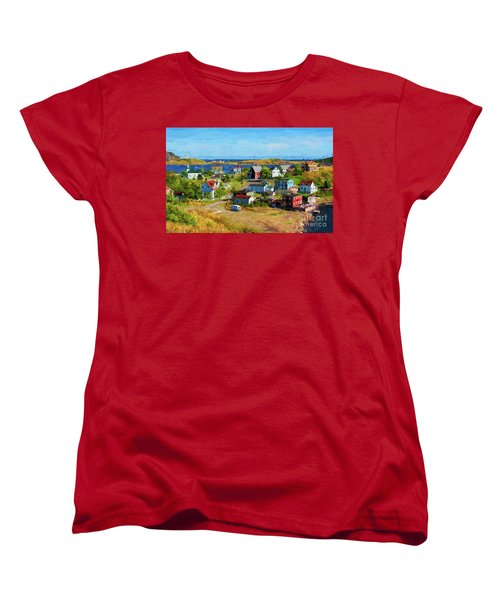 Colorful Homes In Trinity, Newfoundland - Painterly Women's T-Shirt (Standard Cut) by Les Palenik