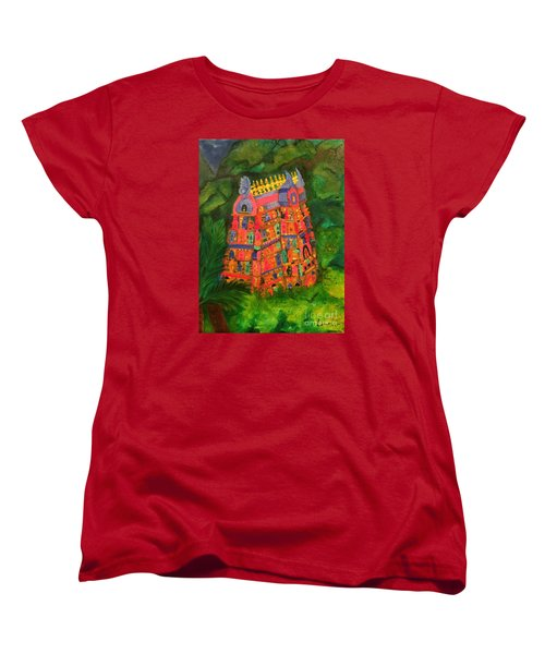 Women's T-Shirt (Standard Cut) featuring the painting Colorful Temple Gopuram by Brindha Naveen