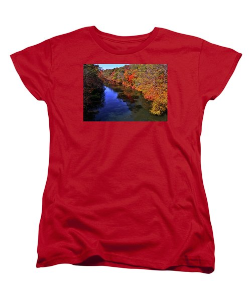 Colors Of Nature - Fall River Reflections 001 Women's T-Shirt (Standard Cut) by George Bostian