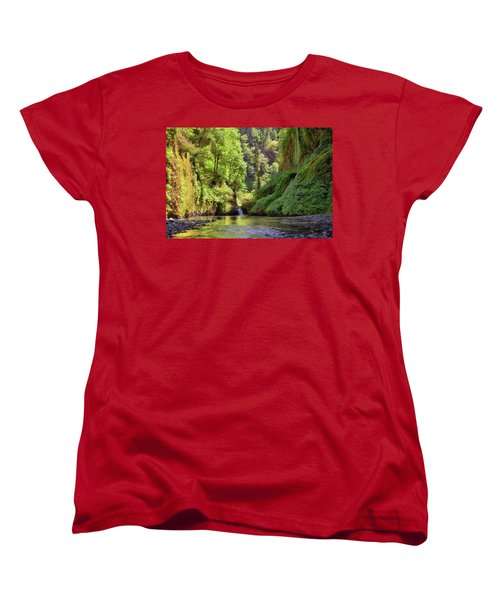 Columbia Gorge Waterfall In Summer Women's T-Shirt (Standard Fit)