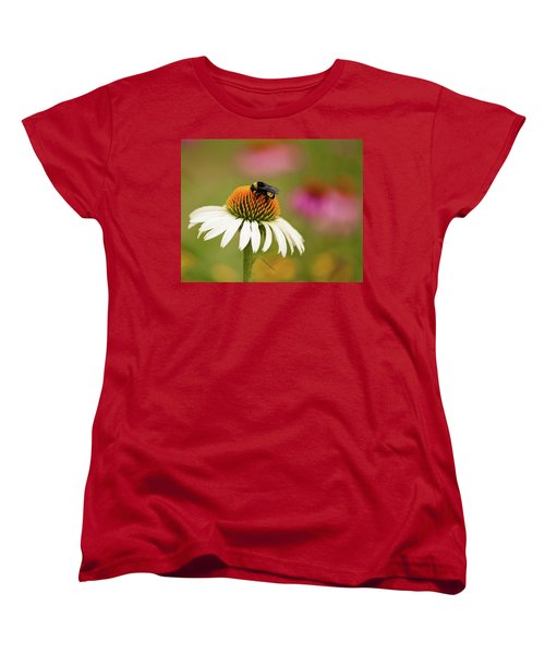 Women's T-Shirt (Standard Cut) featuring the photograph Coneflower And Bee by Phyllis Peterson