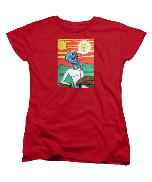 Women's T-Shirt (Standard Cut) featuring the painting Contemplative Alien by Similar Alien