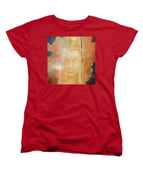 Women's T-Shirt (Standard Cut) featuring the painting Copper Buddha by Dina Dargo