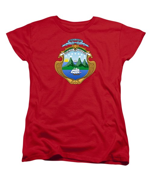Women's T-Shirt (Standard Cut) featuring the drawing Costa Rica Coat Of Arms by Movie Poster Prints