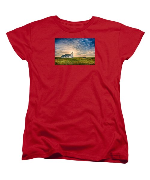 Country Church Sunrise Women's T-Shirt (Standard Cut) by Rikk Flohr