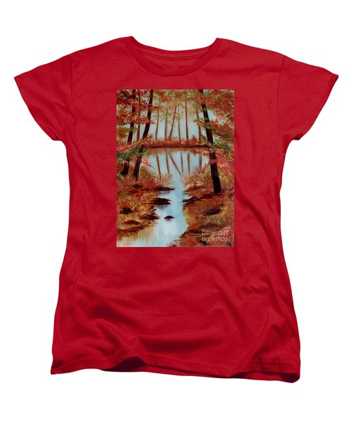 Women's T-Shirt (Standard Cut) featuring the painting Country Reflections by Leslie Allen