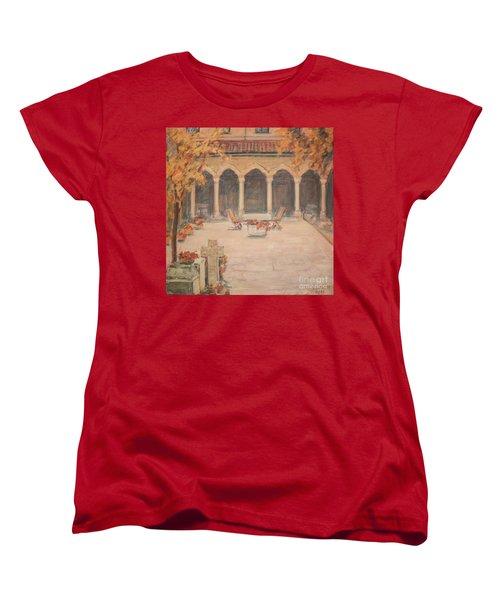 Women's T-Shirt (Standard Cut) featuring the painting Courtyard Of Stravopoleos Church by Olimpia - Hinamatsuri Barbu