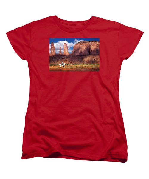 Women's T-Shirt (Standard Cut) featuring the photograph Cowboy And Three Sisters by William Lee