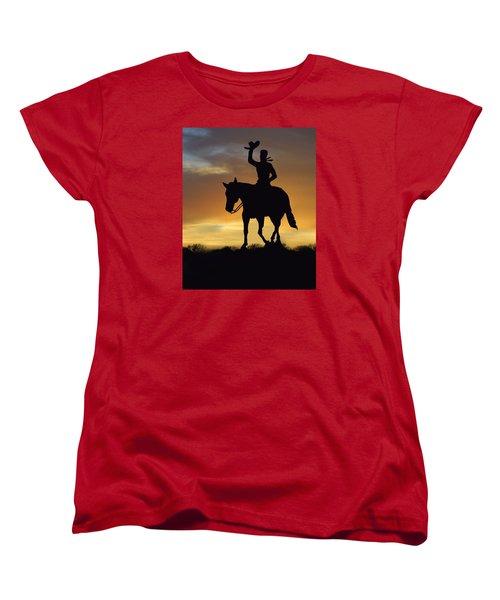 Cowboy Slilouette Women's T-Shirt (Standard Cut) by Linda Phelps