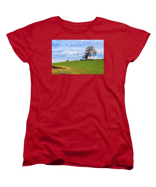 Women's T-Shirt (Standard Cut) featuring the photograph Cows On A Spring Hill by James Eddy