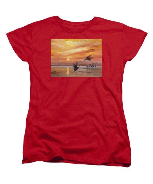 Cranes - Golden Sunset Women's T-Shirt (Standard Cut)