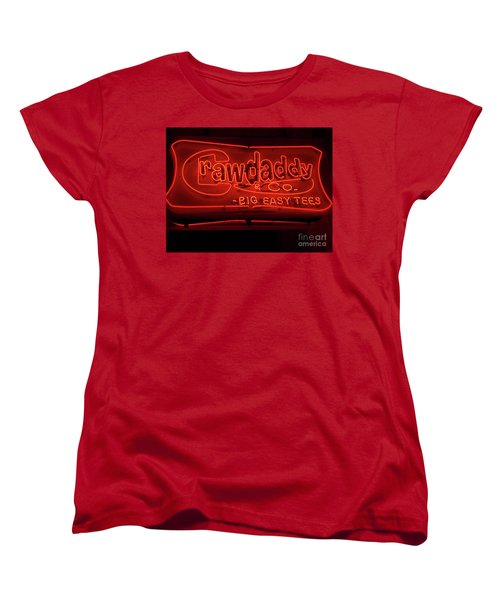 Women's T-Shirt (Standard Cut) featuring the photograph Craw Daddy Neon Sign by Steven Spak