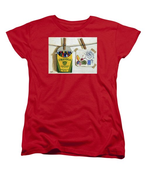 Women's T-Shirt (Standard Cut) featuring the painting Crayola Crayons And Drawing Realistic Still Life Painting by Linda Apple