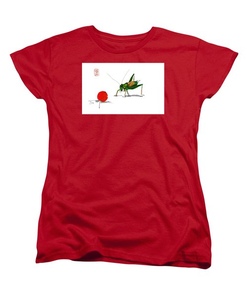 Cricket  Joy With Cherry Women's T-Shirt (Standard Cut) by Debbi Saccomanno Chan