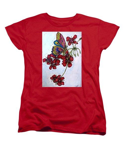 Crimson Fancy Women's T-Shirt (Standard Cut) by Kim Jones