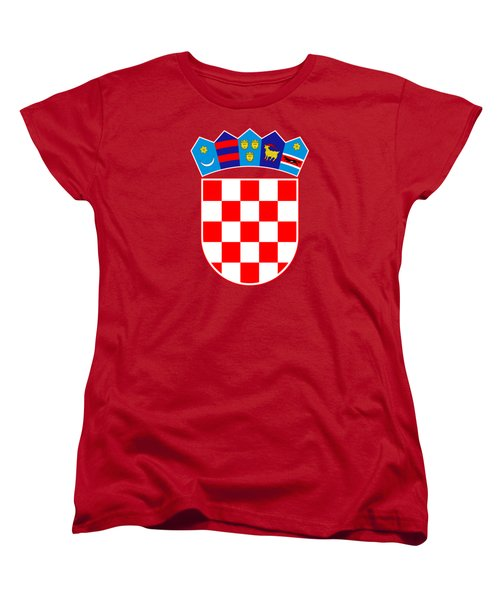 Women's T-Shirt (Standard Cut) featuring the drawing Croatia Coat Of Arms by Movie Poster Prints