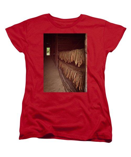 Women's T-Shirt (Standard Cut) featuring the photograph Cuban Tobacco Shed by Joan Carroll