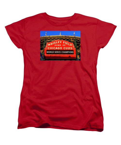 Cubs Win World Series Women's T-Shirt (Standard Cut) by Andrew Soundarajan