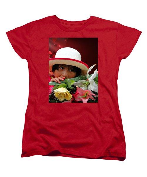 Women's T-Shirt (Standard Cut) featuring the photograph Cuenca Kids 887 by Al Bourassa