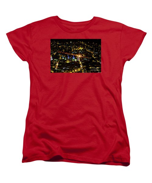 Women's T-Shirt (Standard Cut) featuring the photograph Cuenca's Historic District At Night by Al Bourassa