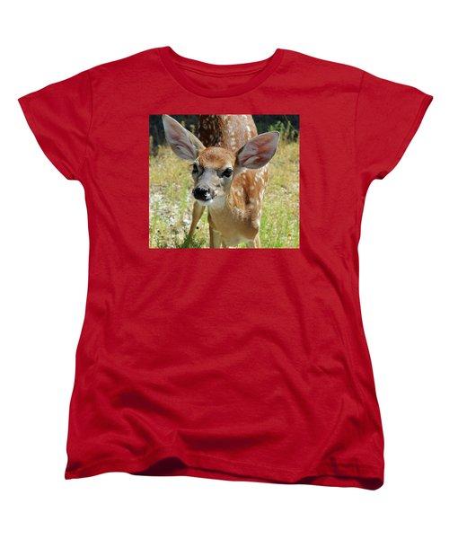 Curious Fawn Women's T-Shirt (Standard Cut) by Inspirational Photo Creations Audrey Woods