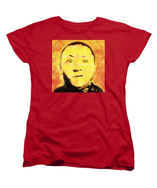 Women's T-Shirt (Standard Cut) featuring the painting Curly Howard Three Stooges Pop Art by Bob Baker