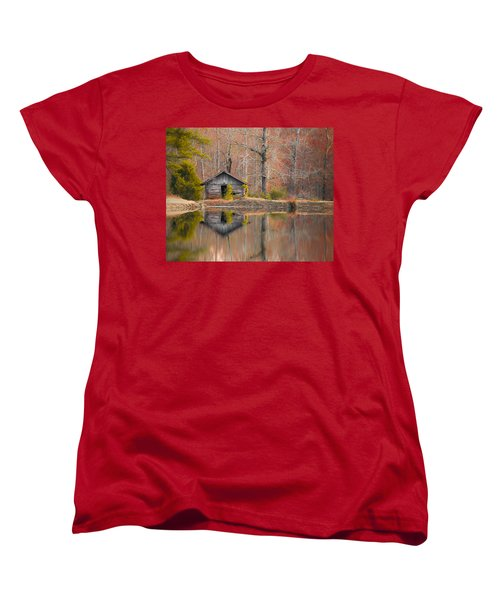 Custom Crop - Cabin By The Lake Women's T-Shirt (Standard Cut) by Shelby  Young