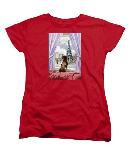 Dachshund In Paris Women's T-Shirt (Standard Fit)