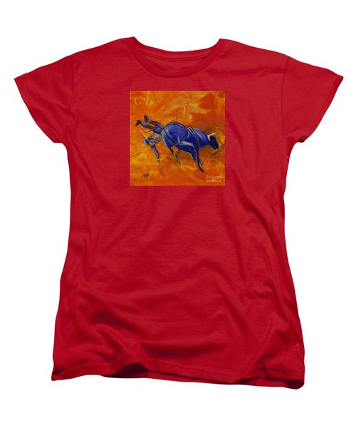 Women's T-Shirt (Standard Cut) featuring the painting Danny At The Rodeo by Janice Rae Pariza