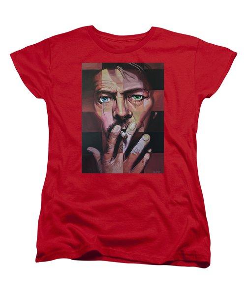 David Bowie Women's T-Shirt (Standard Cut) by Steve Hunter