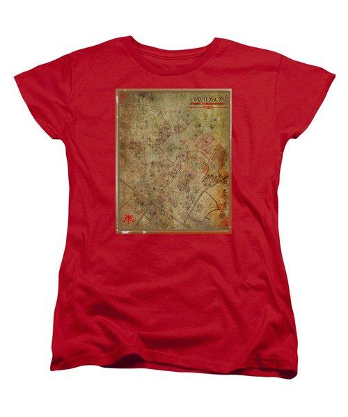 Davidson College Map Women's T-Shirt (Standard Cut) by Paulette B Wright