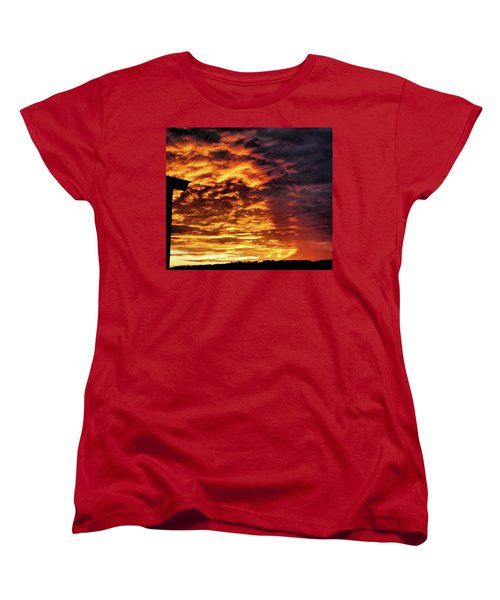 Women's T-Shirt (Standard Cut) featuring the painting December Austin Sunset  by Layne William LoMaglio