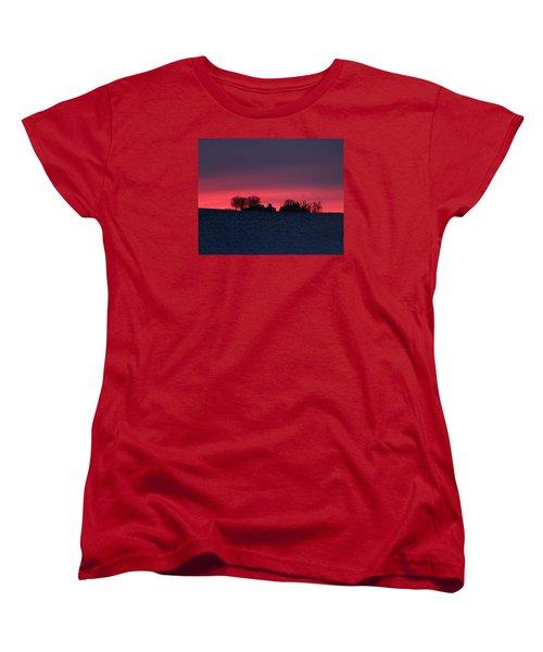 December Farm Sunset Women's T-Shirt (Standard Cut) by Kathy M Krause