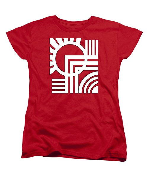Deco Design White Women's T-Shirt (Standard Cut) by Chuck Staley
