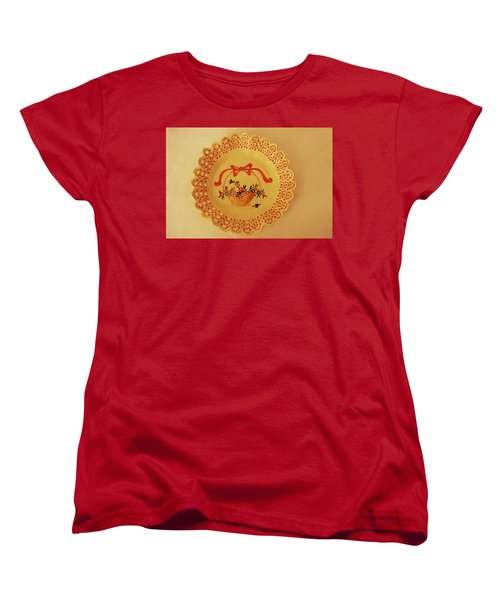 Women's T-Shirt (Standard Cut) featuring the photograph Decorated Plate With A Basket And Flowers by Itzhak Richter